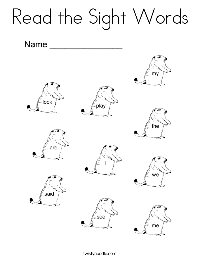 read the sight words coloring page