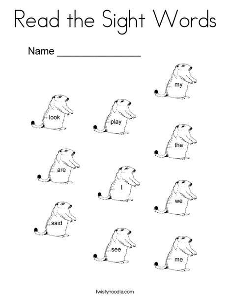 Dolch Sight Words for Groundhog Day Coloring Page