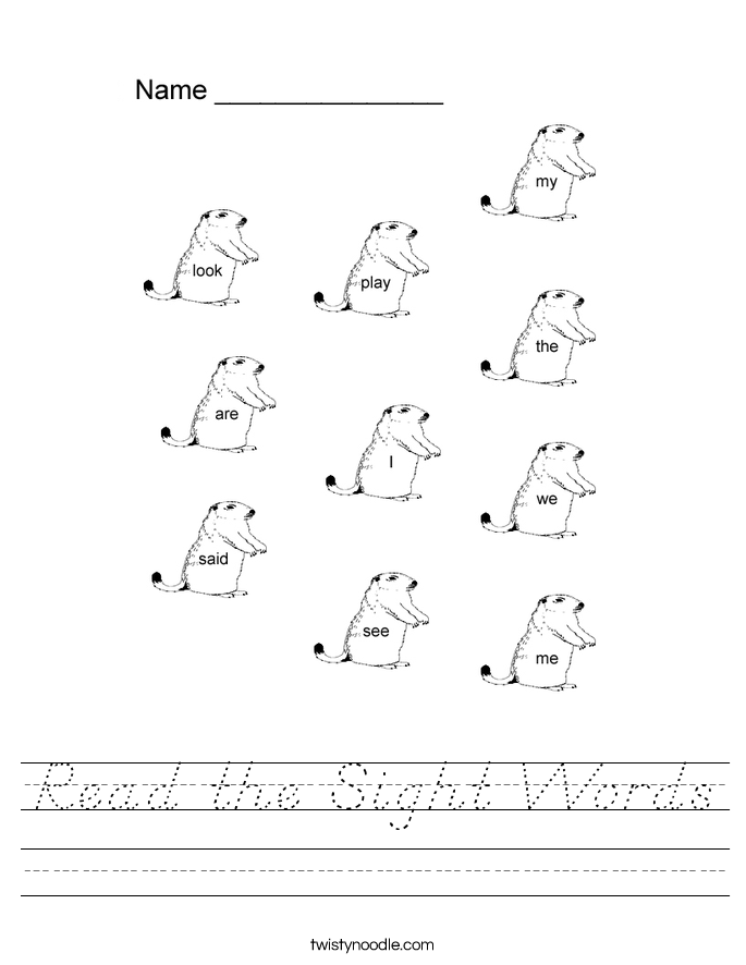 Read the Sight Words Worksheet