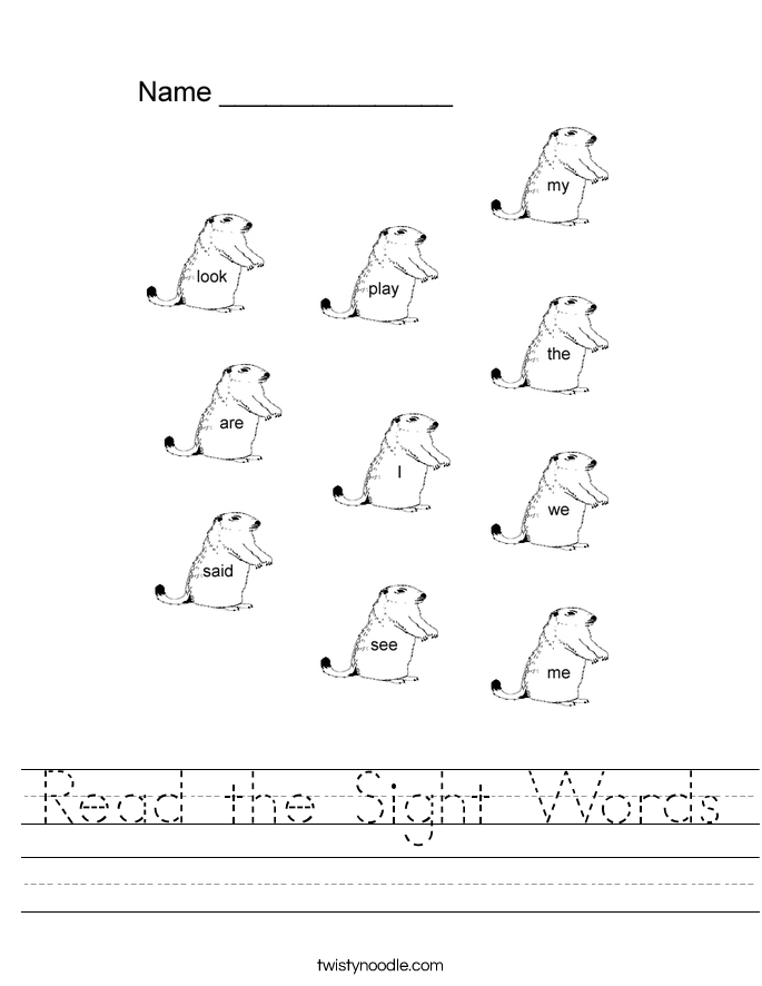 Sight Words Reading Read The Sight Words
