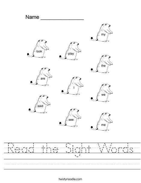 Dolch Sight Words for Groundhog Day Worksheet