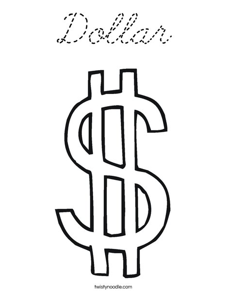 Dollar Sign Coloring Page