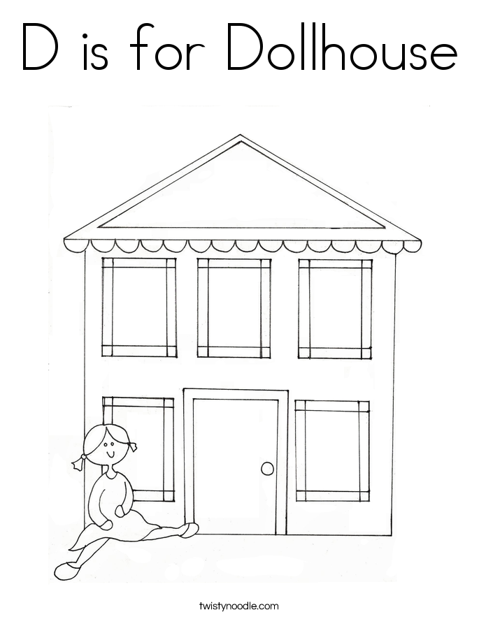 D is for Dollhouse Coloring Page