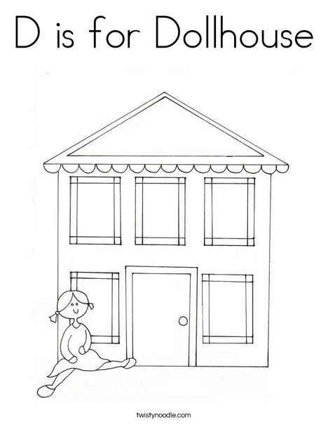 D Is For Dollhouse Coloring Page Twisty Noodle