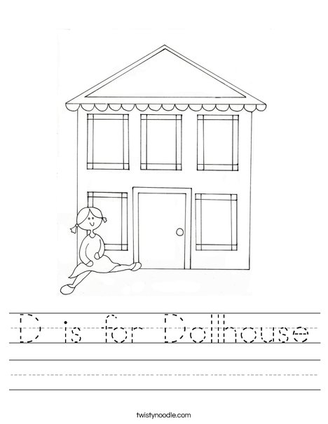 Line Art Doll House : D is for dollhouse worksheet twisty noodle