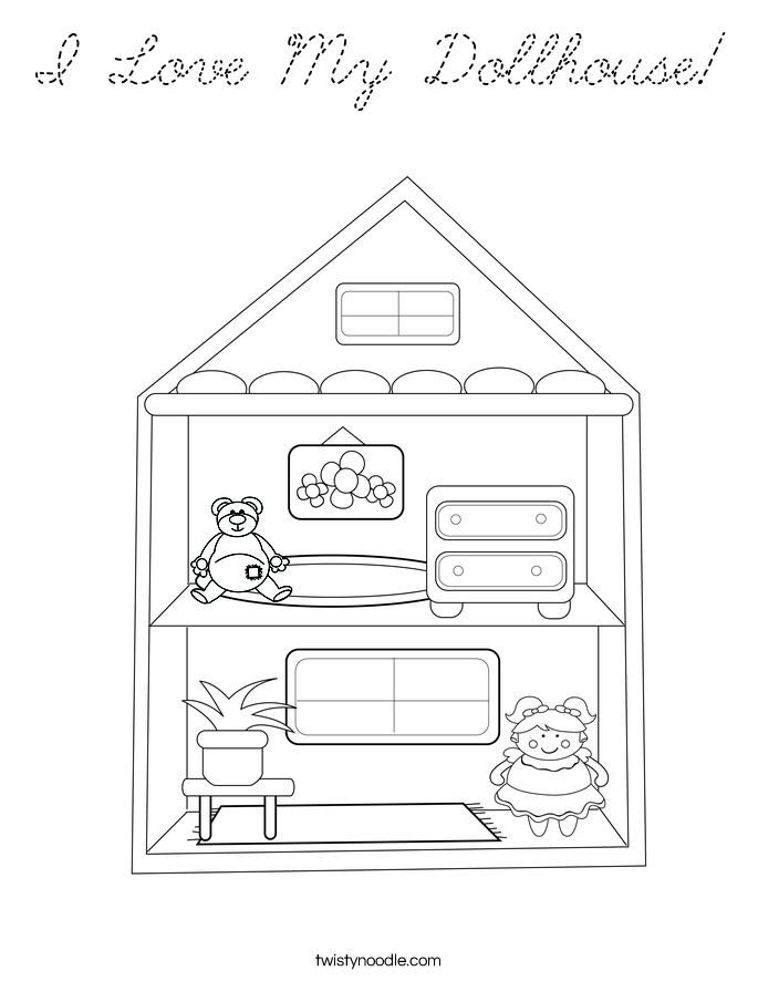 I Love My Dollhouse Coloring Page
