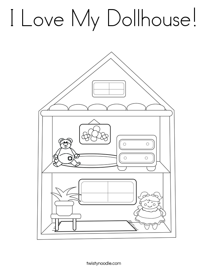 I Love My Dollhouse! Coloring Page