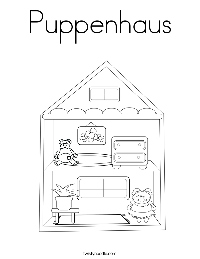 puppenhaus coloring page twisty noodle. Black Bedroom Furniture Sets. Home Design Ideas