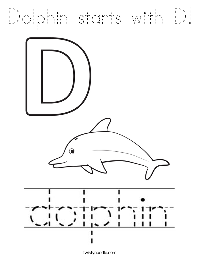 Dolphin starts with D! Coloring Page