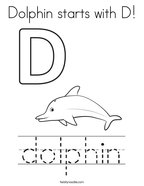 Dolphin starts with D Coloring Page