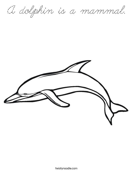 Swimming Dolphin Coloring Page
