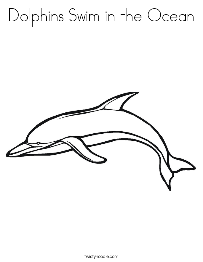 Dolphins Swim in the Ocean Coloring Page