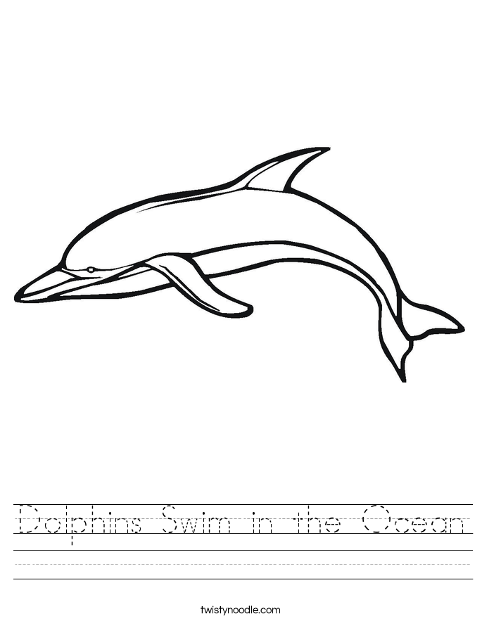 Dolphins Swim in the Ocean Worksheet