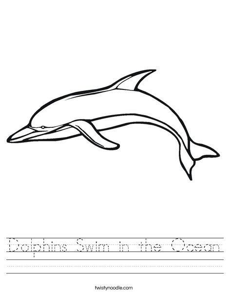 Swimming Dolphin Worksheet