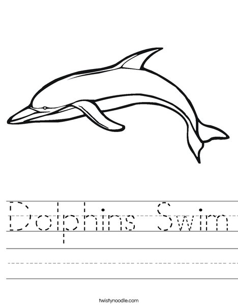Swimming Dolphin Worksheet