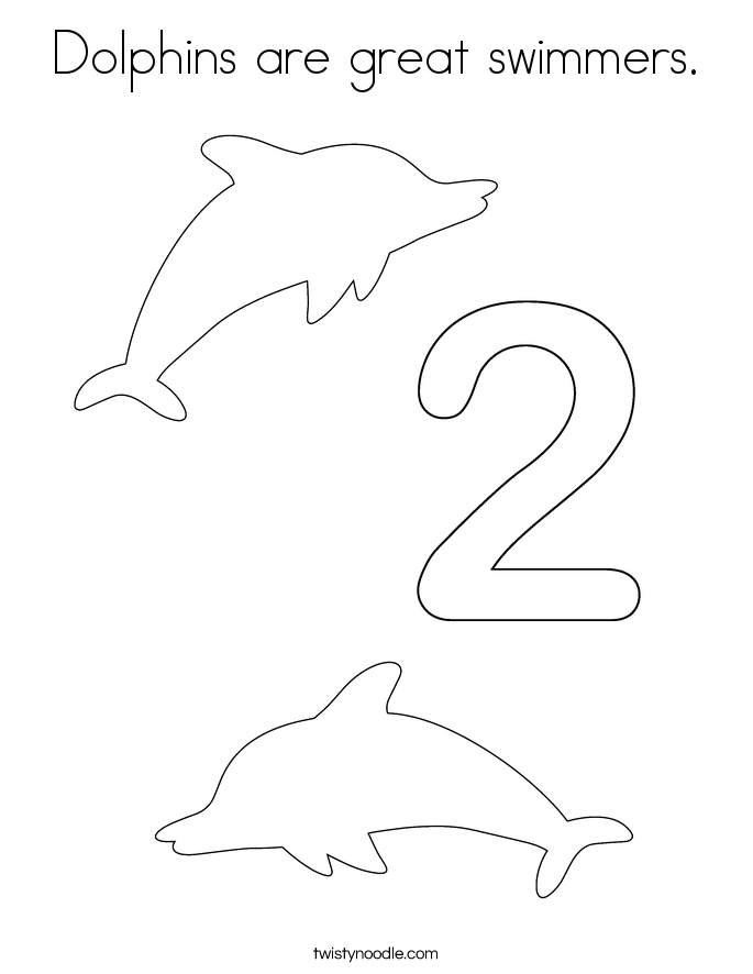 Dolphins are great swimmers. Coloring Page