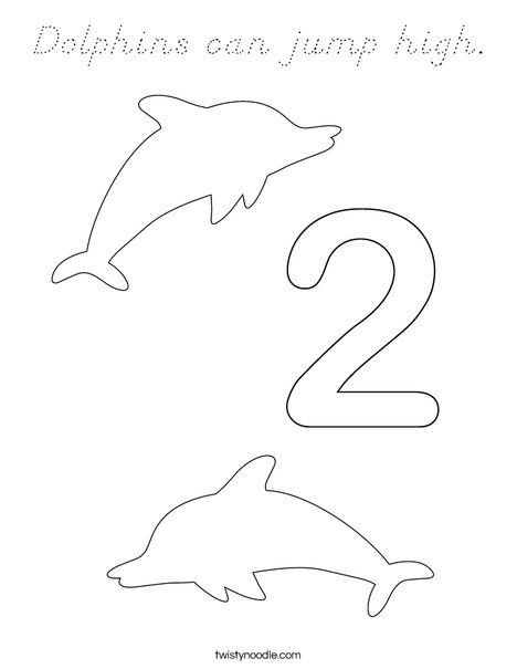 Two Dolphins Coloring Page