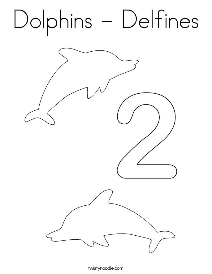 Dolphins - Delfines Coloring Page