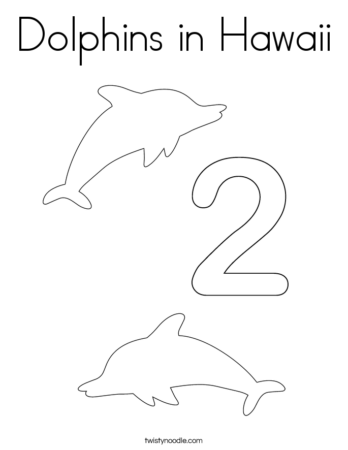 Dolphins in Hawaii Coloring Page