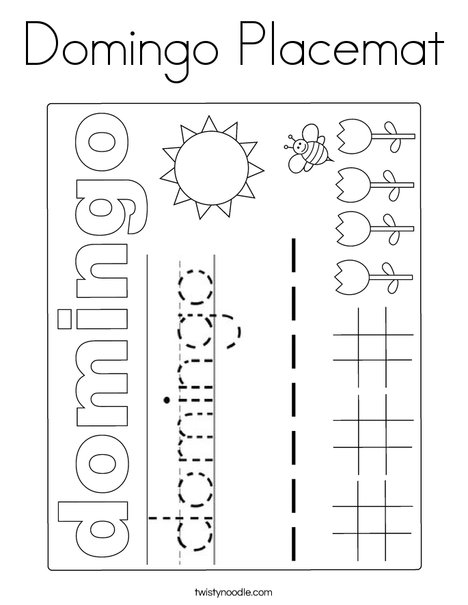 Domingo Placemat Coloring Page