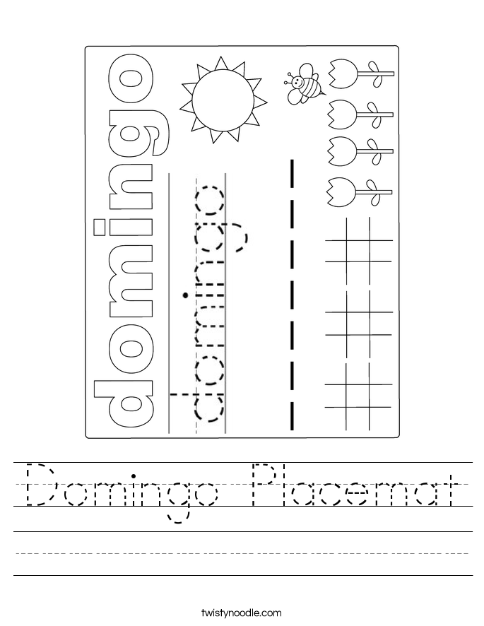 Domingo Placemat Worksheet