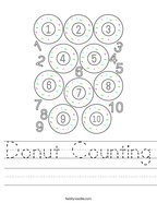 Donut Counting Handwriting Sheet
