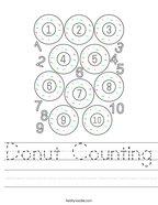 Donut Counting Handwriting Sheet