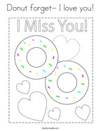 Donut forget- I love you Coloring Page