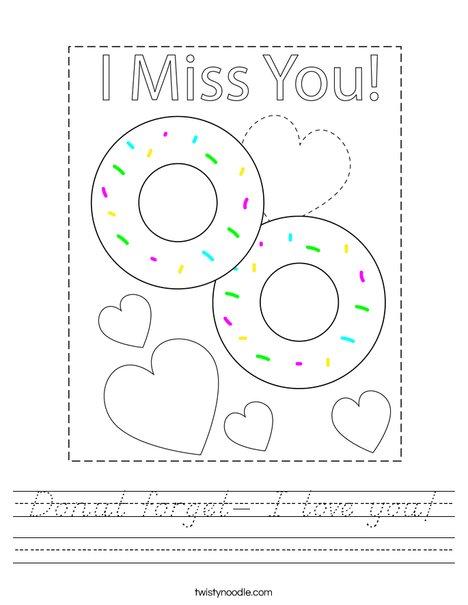 Donut forget- I love you! Worksheet