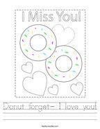 Donut forget- I love you Handwriting Sheet