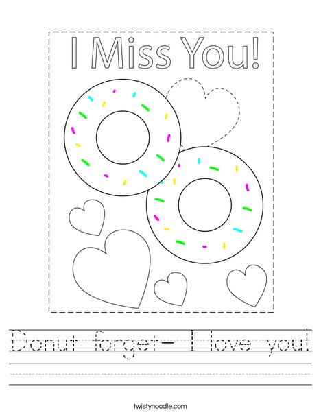 Donut forget- I love you! Worksheet