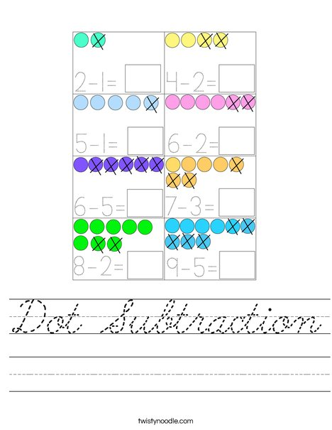 Dot Subtraction Worksheet