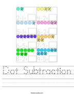 Dot Subtraction Handwriting Sheet