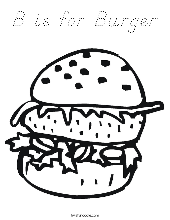B is for Burger Coloring Page