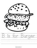 B is for Burger Worksheet
