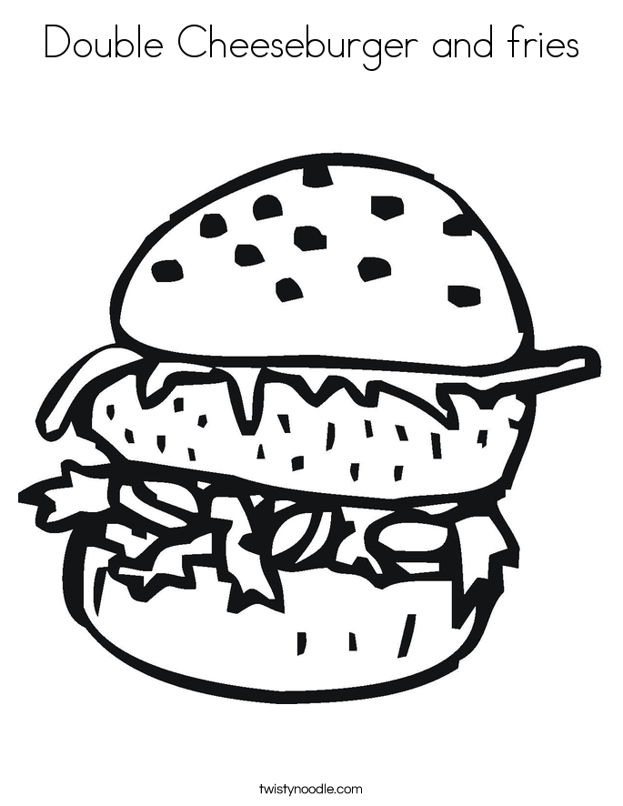 Double Cheeseburger and fries Coloring Page