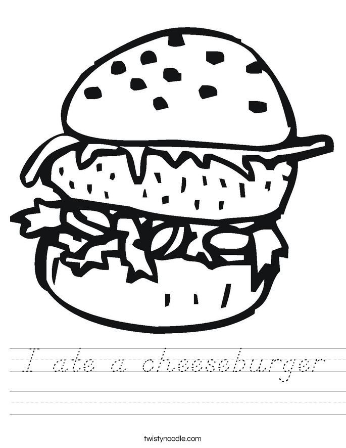 I ate a cheeseburger Worksheet