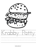 Krabby Patty Worksheet