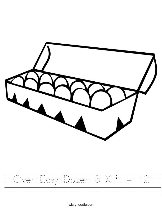 Over Easy Dozen 3 X 4 = 12 Worksheet