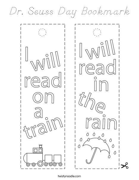 Dr Seuss Day Bookmark Coloring Page