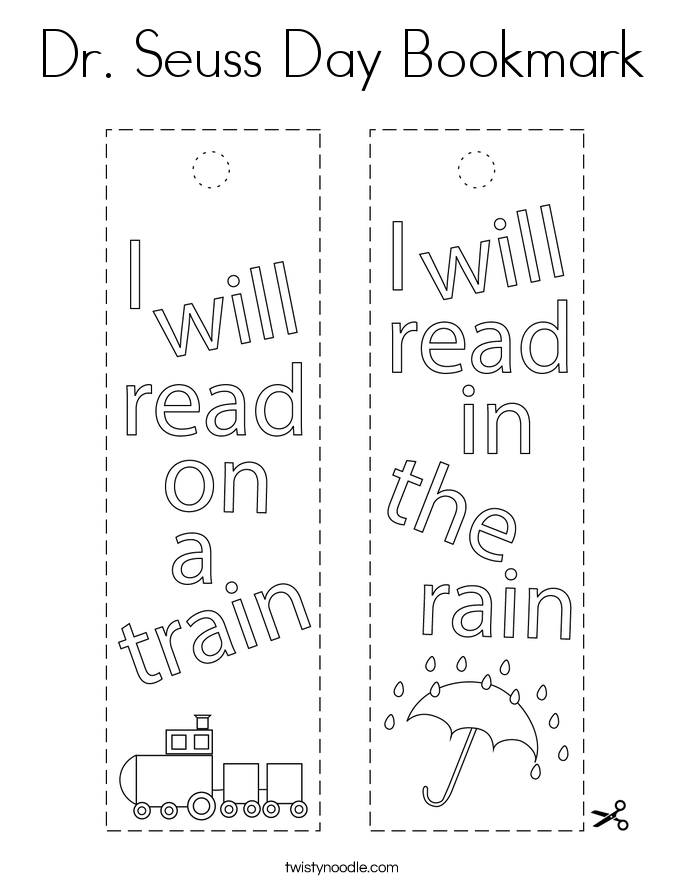 Dr. Seuss Day Bookmark Coloring Page