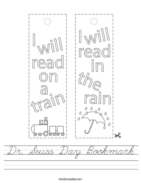 Dr Seuss Day Bookmark Worksheet