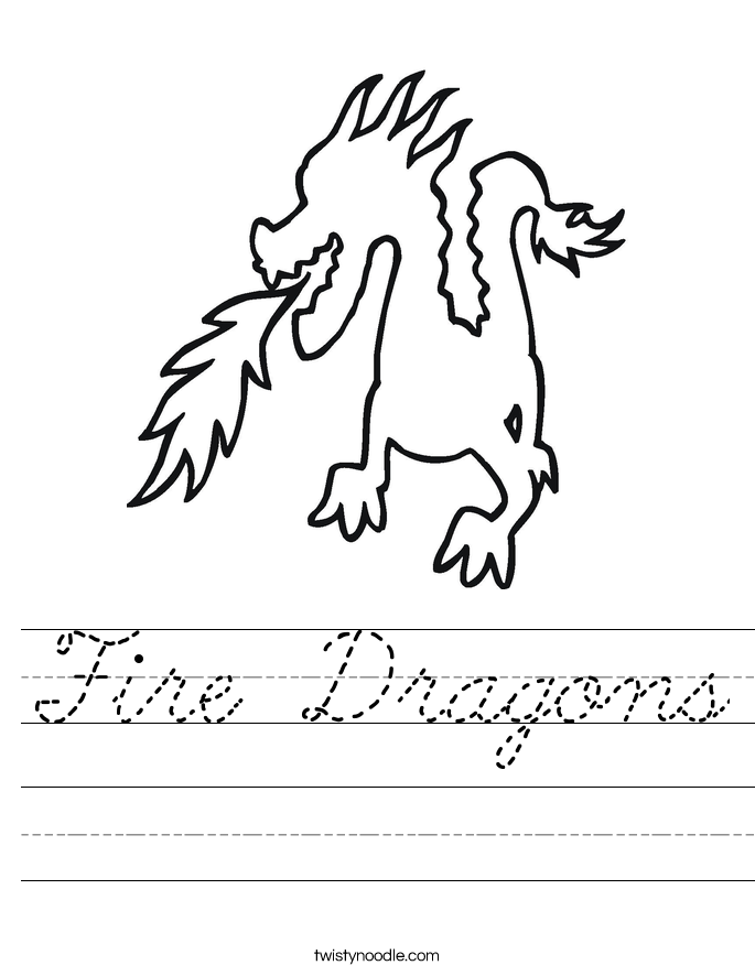 Fire Dragons Worksheet - Cursive - Twisty Noodle