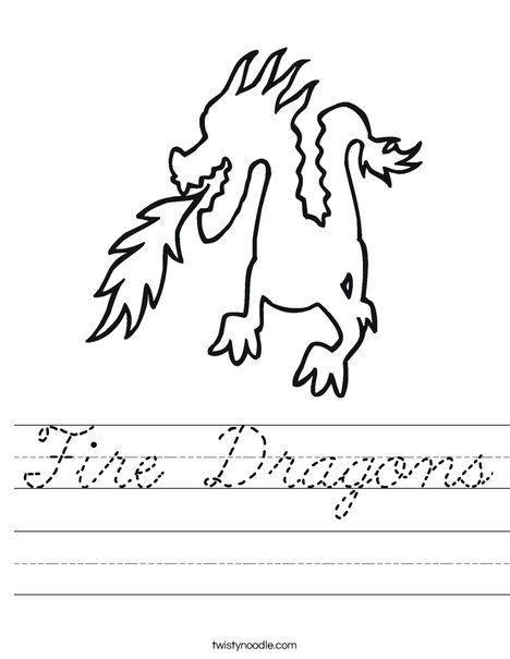 Dragon Breathing Fire Worksheet