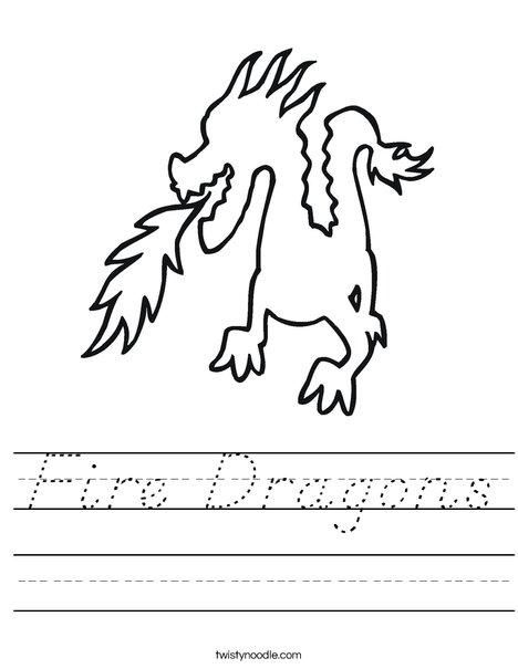 Dragon Breathing Fire Worksheet