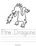 Fire Dragons Handwriting Sheet