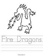 Fire Dragons Handwriting Sheet