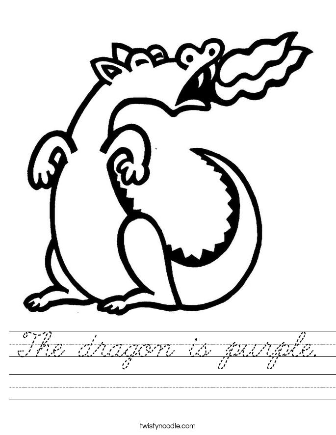 The dragon is purple. Worksheet