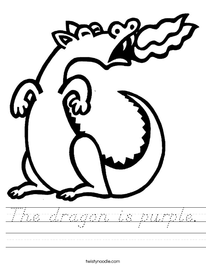 The dragon is purple. Worksheet