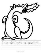 The dragon is purple Handwriting Sheet
